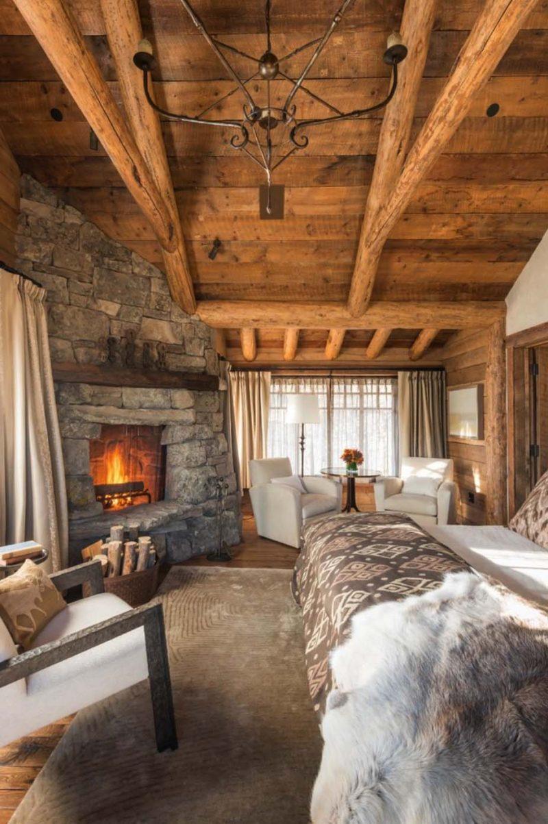 Chalet Schlafzimmer Holz und Stein