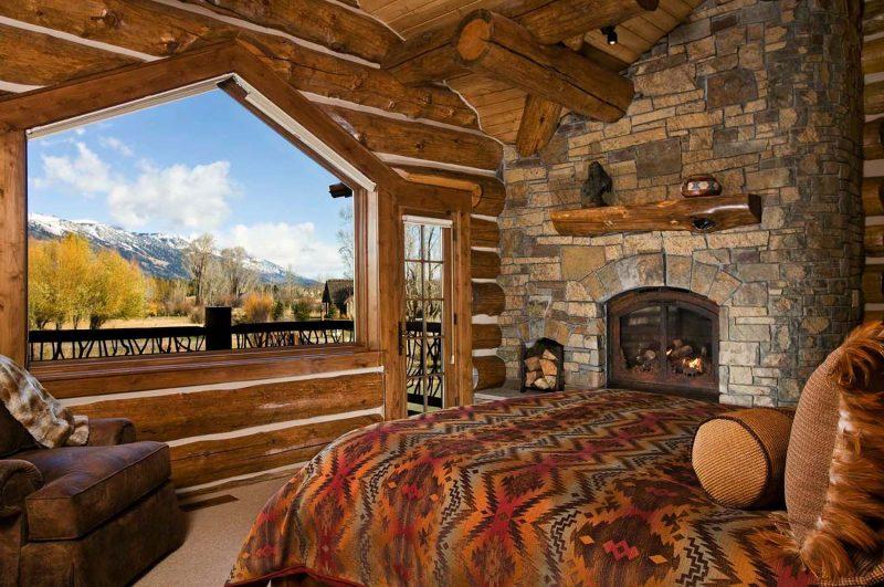 Chalet Schlafzimmer Fenster groß herrliche Aussicht