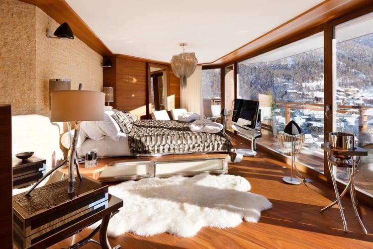 Chalet Schlafzimmer Teppich Fellimitation modern