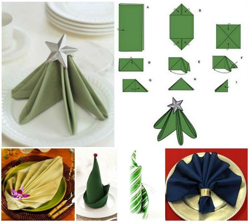 Servietten falten einfach und wirkungsvoll tolle Ideen Tannenbaum