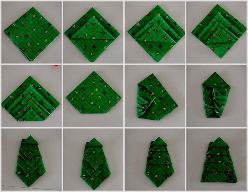 Servietten falten einfach und wirkungsvoll Weihnachtsbaum Bilderanleitung