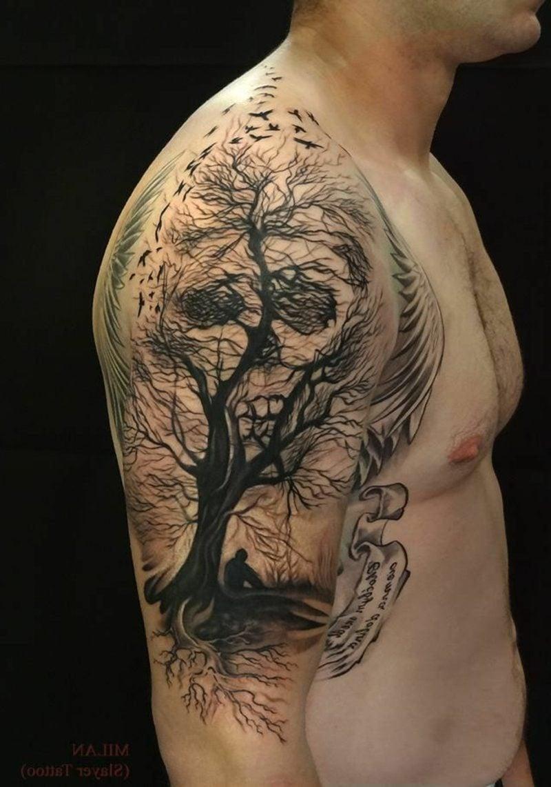 Schädel Tattoo Baum realistisch