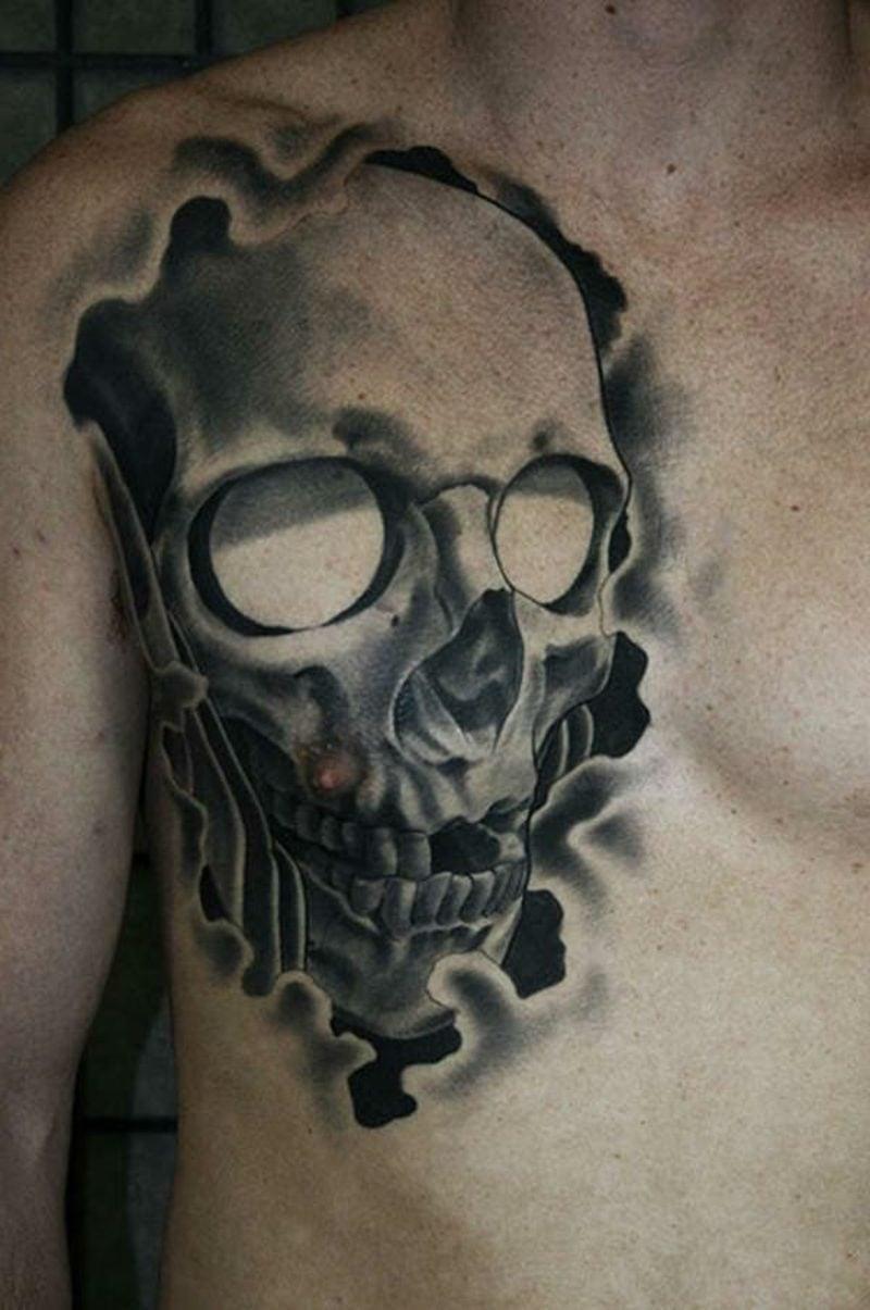 Schädel Tattoo Brust Mann