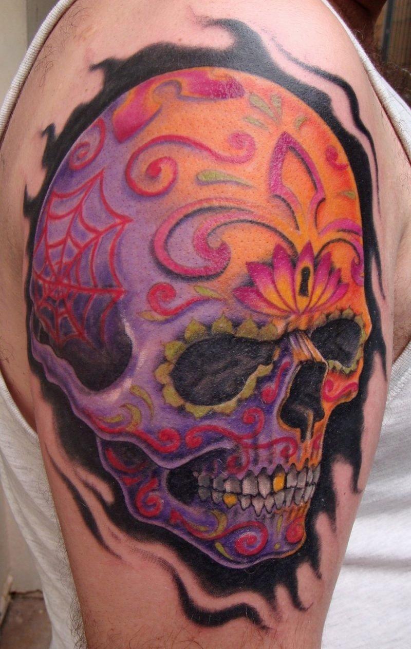 Schädel Tattoo farbiges Design