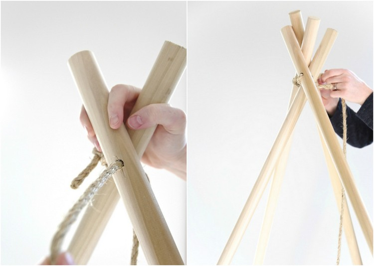 Tipi nähen Gerüst bauen Holzstäbe