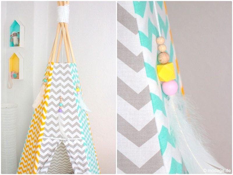 Tipi nähen und originell dekorieren Kinderzimmer