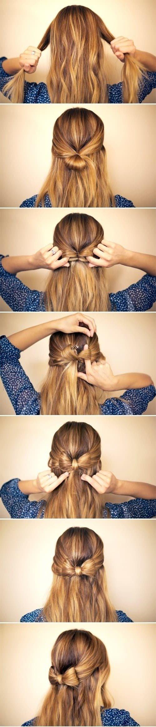 """Silvester Frisuren selber machen: """"Half up Half down"""" und zusammen eine festliche Schleife binden"""
