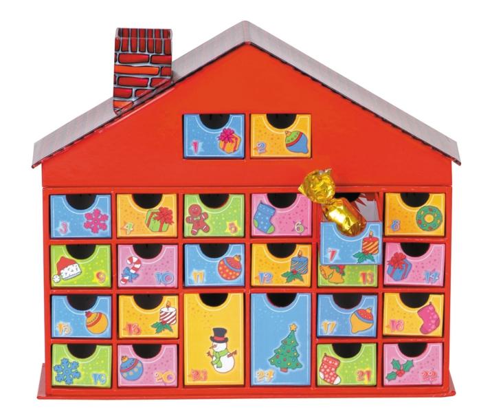 Ideen für Adventskalender Haus mit Schubkästchen Holz