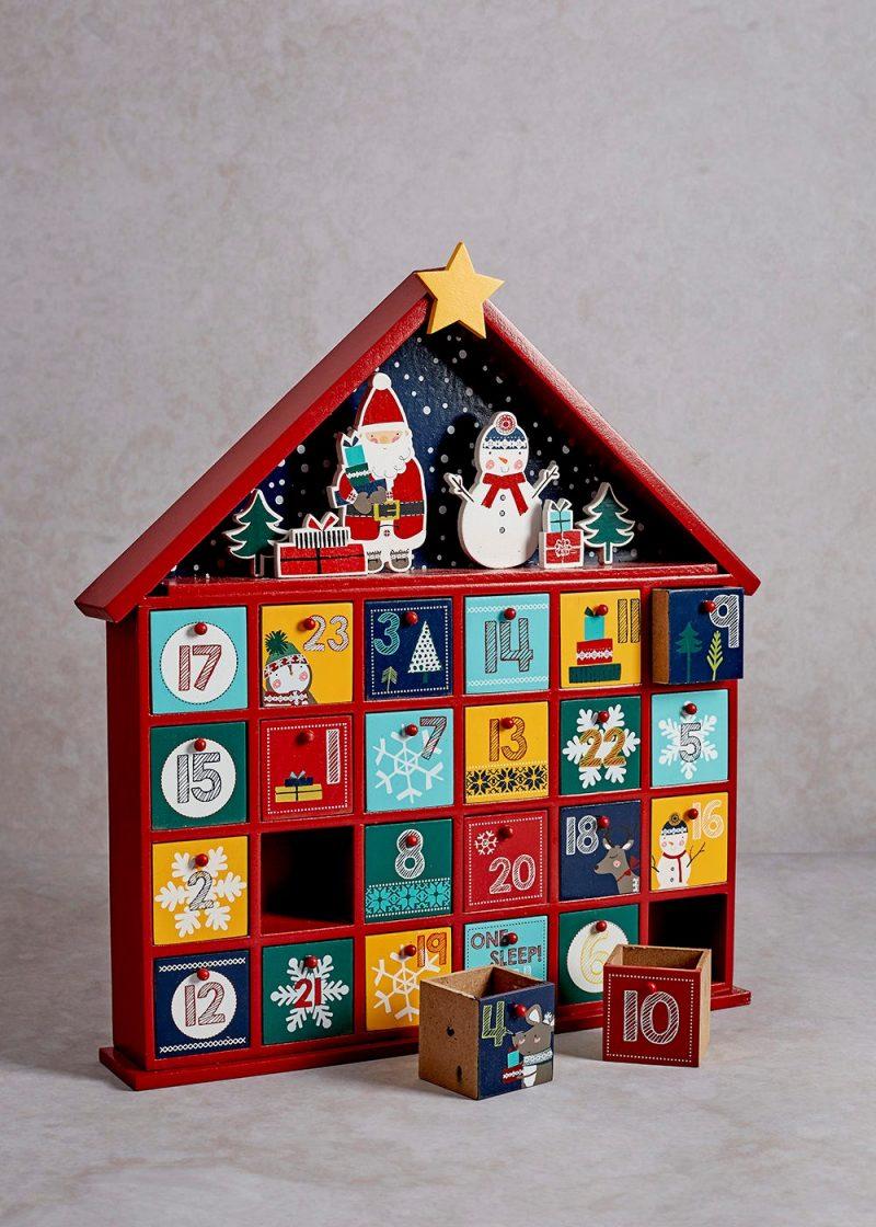 Ideen für Adventskalender Häuschen aus Holz