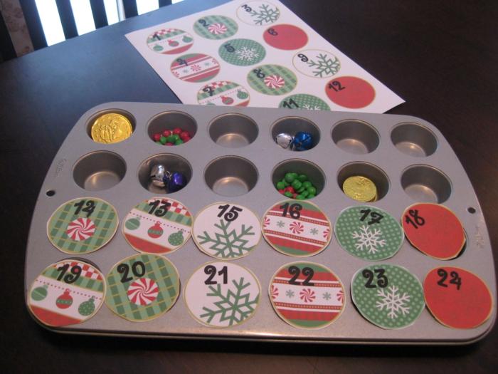 Ideen für Adventskalender kreativ Muffinform