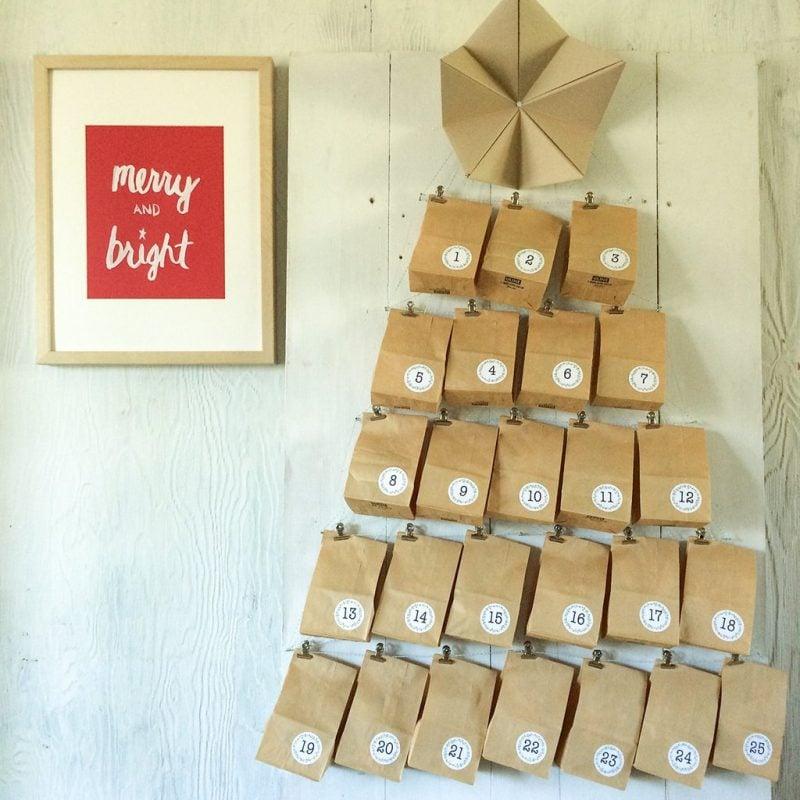Adventskalender für Erwachsene Papiertüten Form Weihnachtsbaum