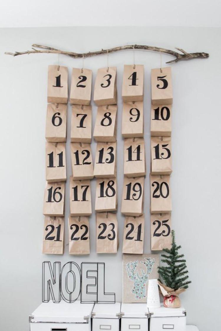 Ideen für Adventskalender Papiertüten aufhängen