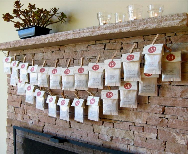 Ideen für Adventskalender Girlande Papiertüten