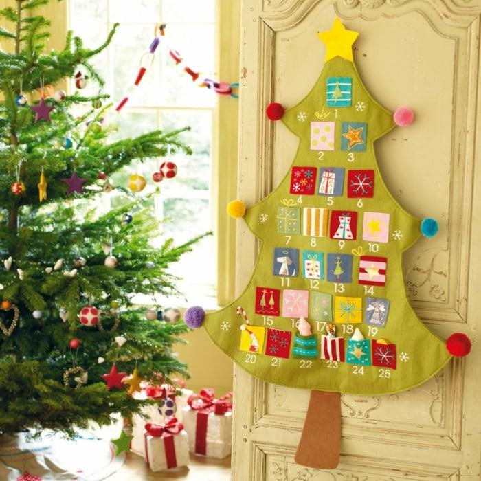 Ideen für Adventskalender Tannenbaum Filz Stofftaschen
