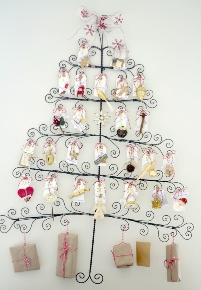 Ideen für Adventskalender Metallgestell Tannenbaum