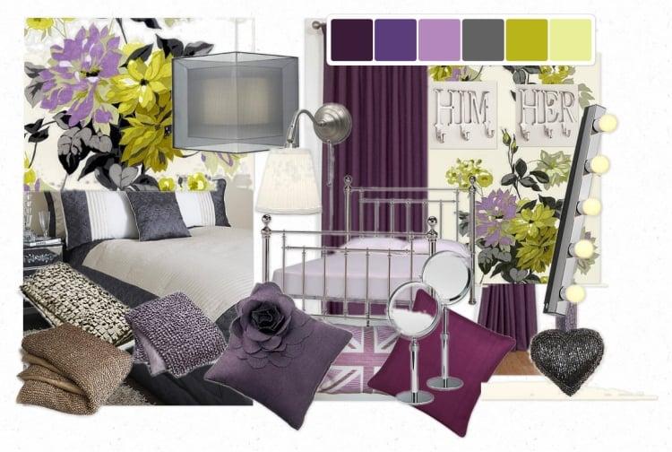 Aubergine Farbe mit anderen Farbtönen kombinieren