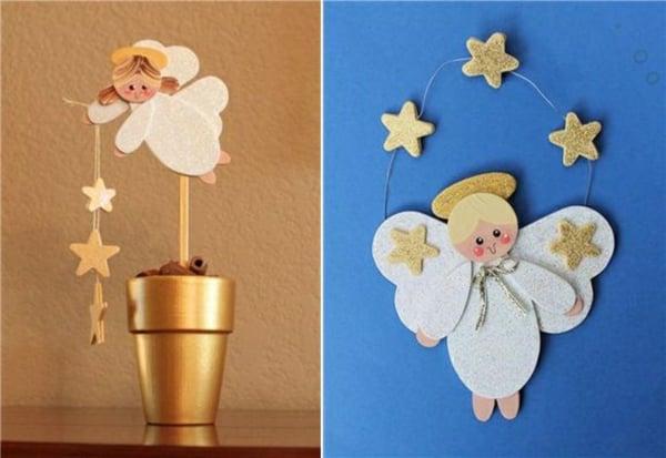 Engel basteln Papier Sternchen