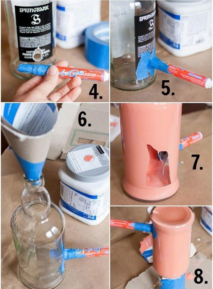 Lampe aus Flaschen Glasflasche einfärben