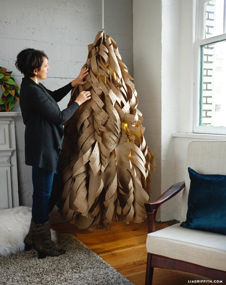 Tannenbaum basteln umweltfreundlich Papier