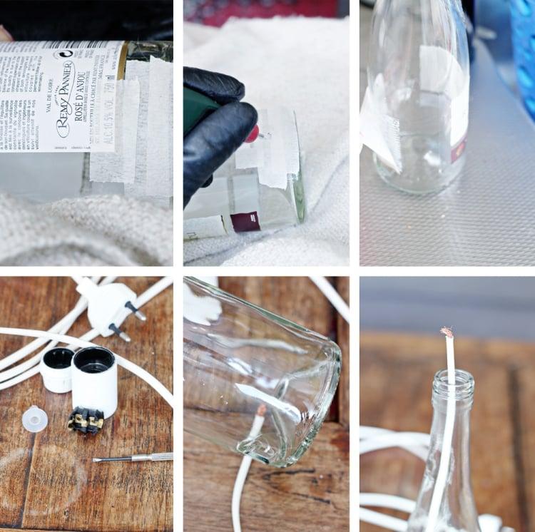 Lampe aus Flaschen Anleitung in Bildern