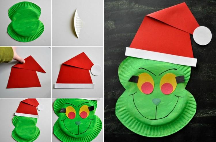 Basteln mit Pappteller lustige Ideen Grinch