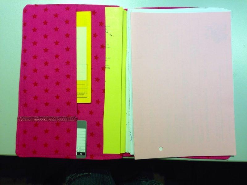 U-Heft Hülle nähen weicher Stoff pink