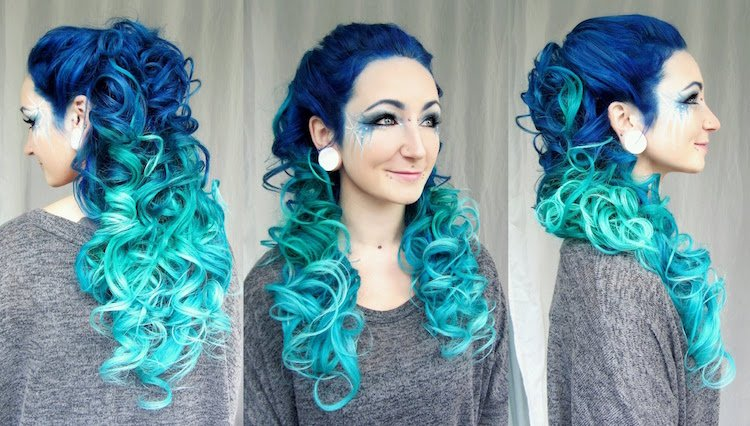 türkise Haare färben zu Halloween