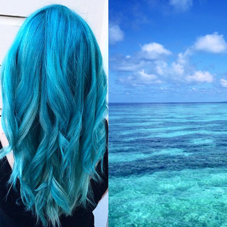 türkise Haare Ozean herrlicher Look