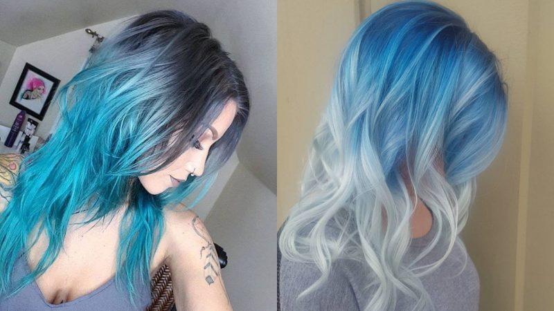 türkise Haare auffällig Reverse Ombre