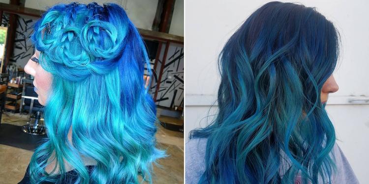 türkise Haare Ideen für Frisuren