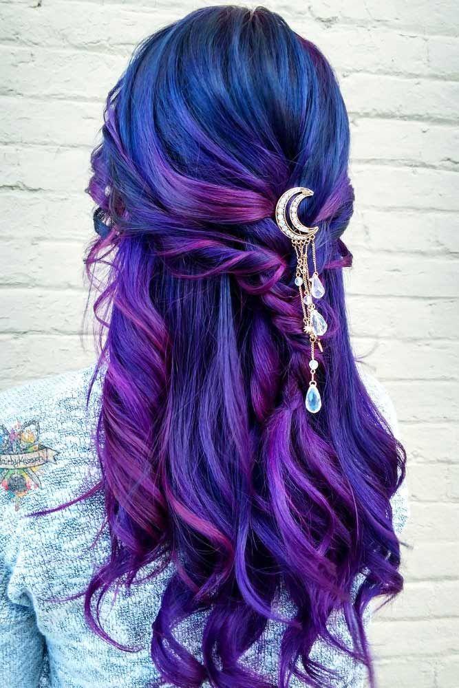 türkise Haare Strähnchen Violett fabelhaft