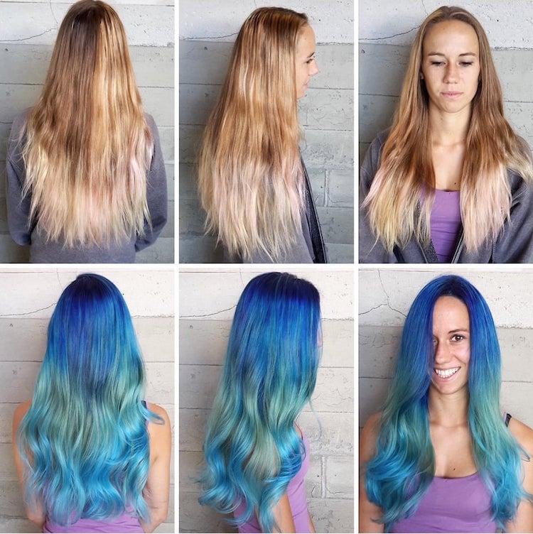 türkise Haare färben vorher nachhher