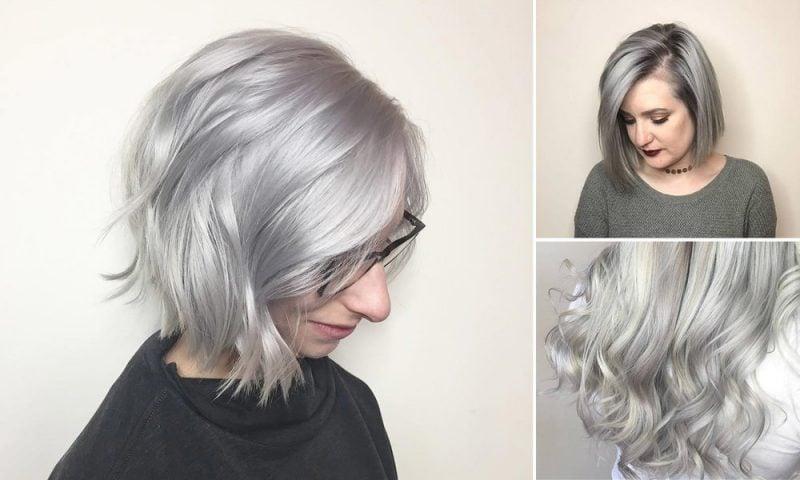 silber Haare färben Stylingvarienten