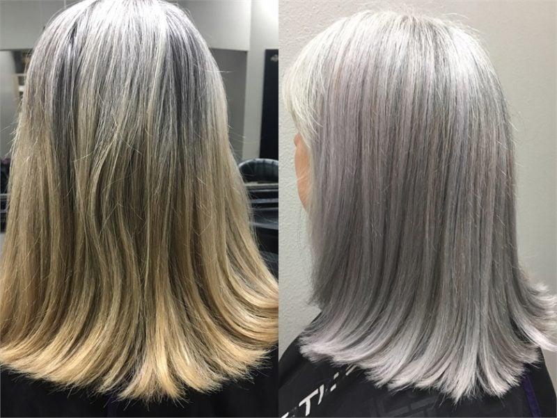 silber Haare färben mittellang vorher nachhher
