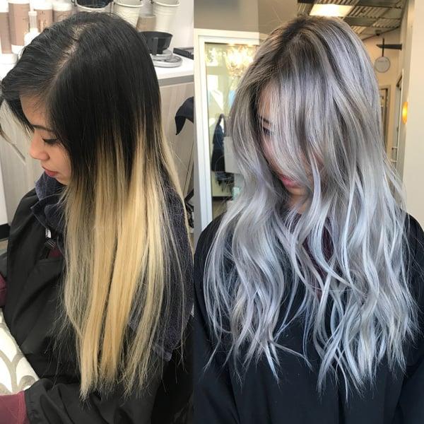 silber Haare färben lang vorher nachhher