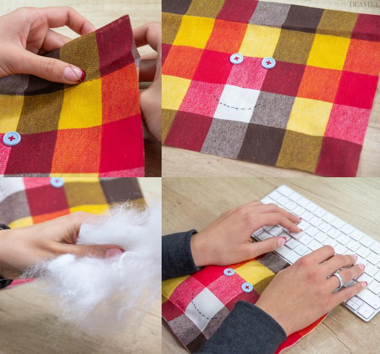Weihnachtsgeschenke basteln für Erwachsene Handgelenkauflage origineller Look