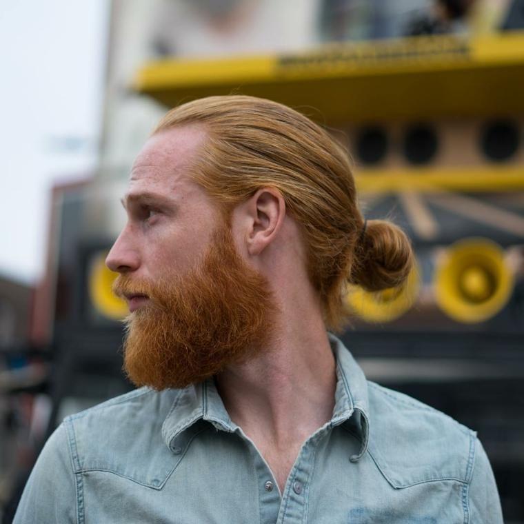 Hipster Frisur Bart Man Bun