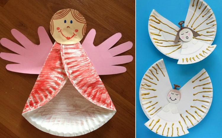 Basteln mit Pappteller Engelchen Handabdrücke