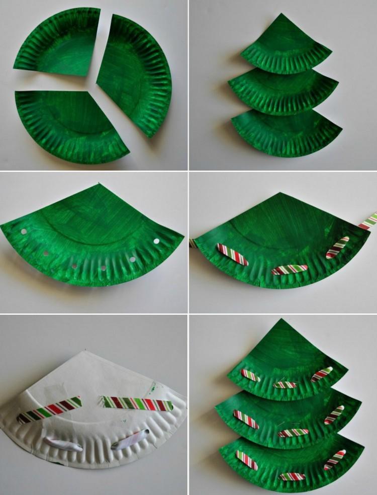 Basteln mit Pappteller Tannenbaum Bilderanleitung