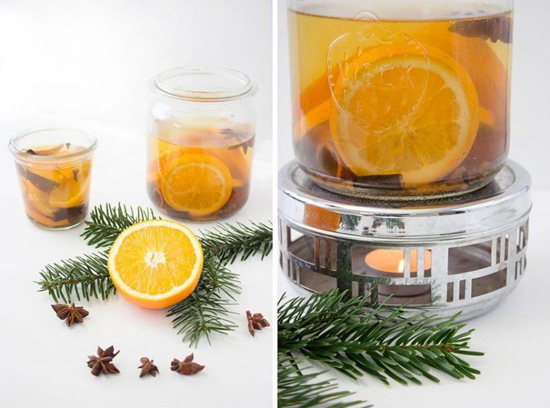 Weihnachtsgeschenke basteln für Erwachsene Raumduft Orangen Sternanis