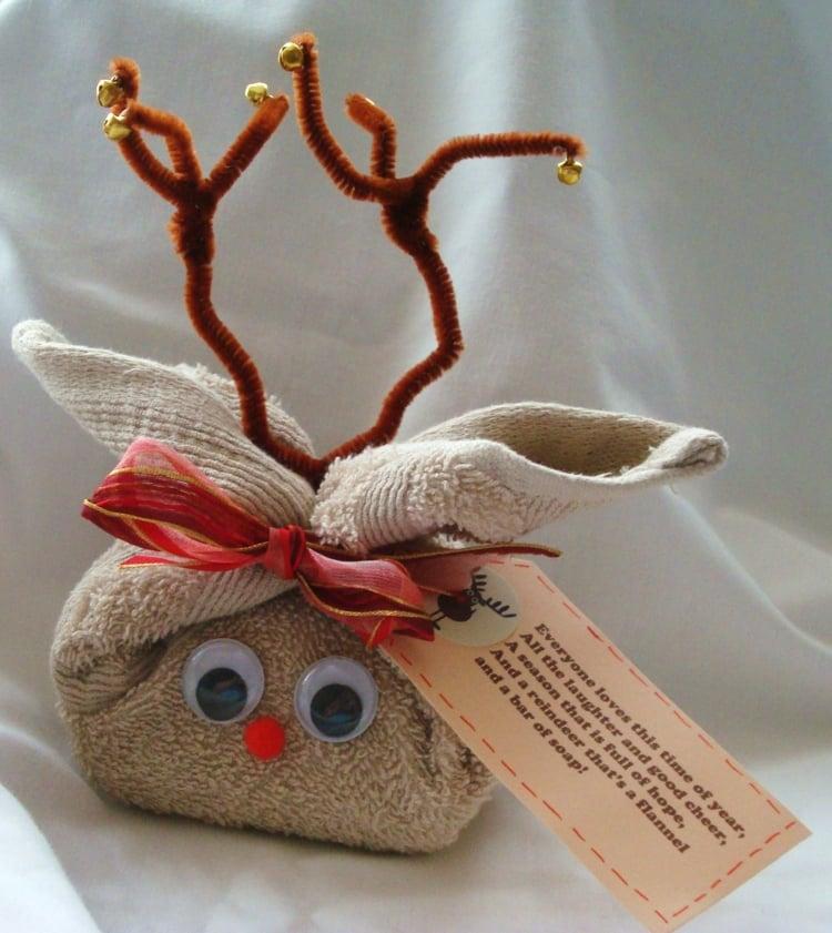 Rentier basteln Geschenkverpackung Seife