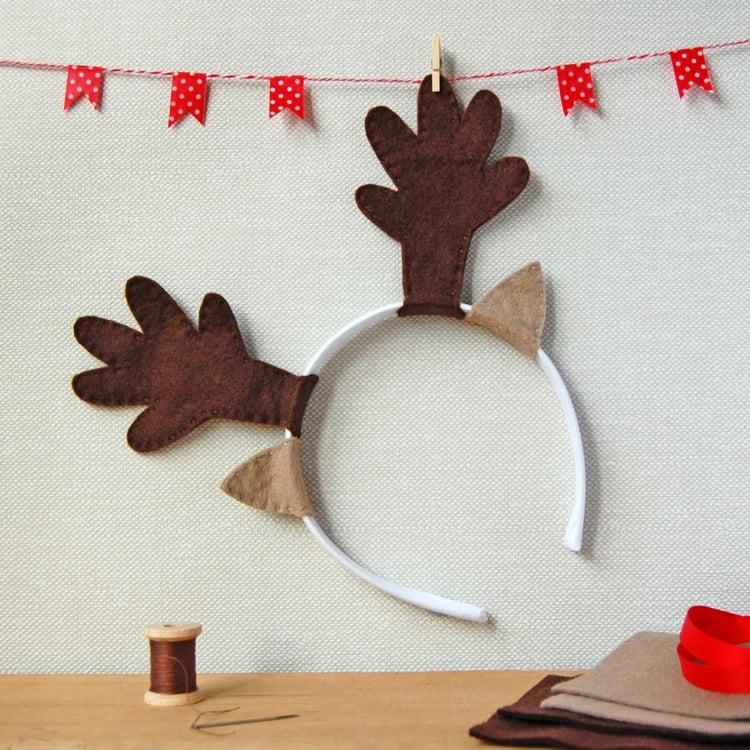 Rentier basteln Haarreif Geweih Wedihnachten