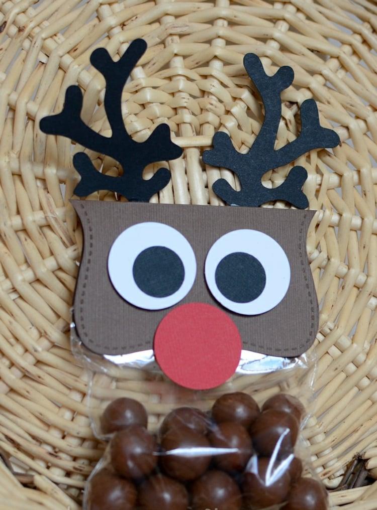 Rentier basteln Bonbons Verpackung