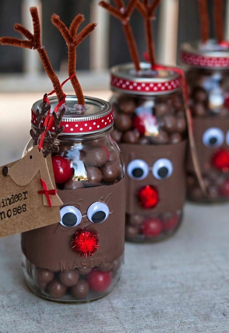 Rentier basteln Einmachglas dekorieren Weihnachten