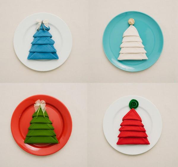 Servietten falten Tannenbaum tolle Ideen Weihnachten
