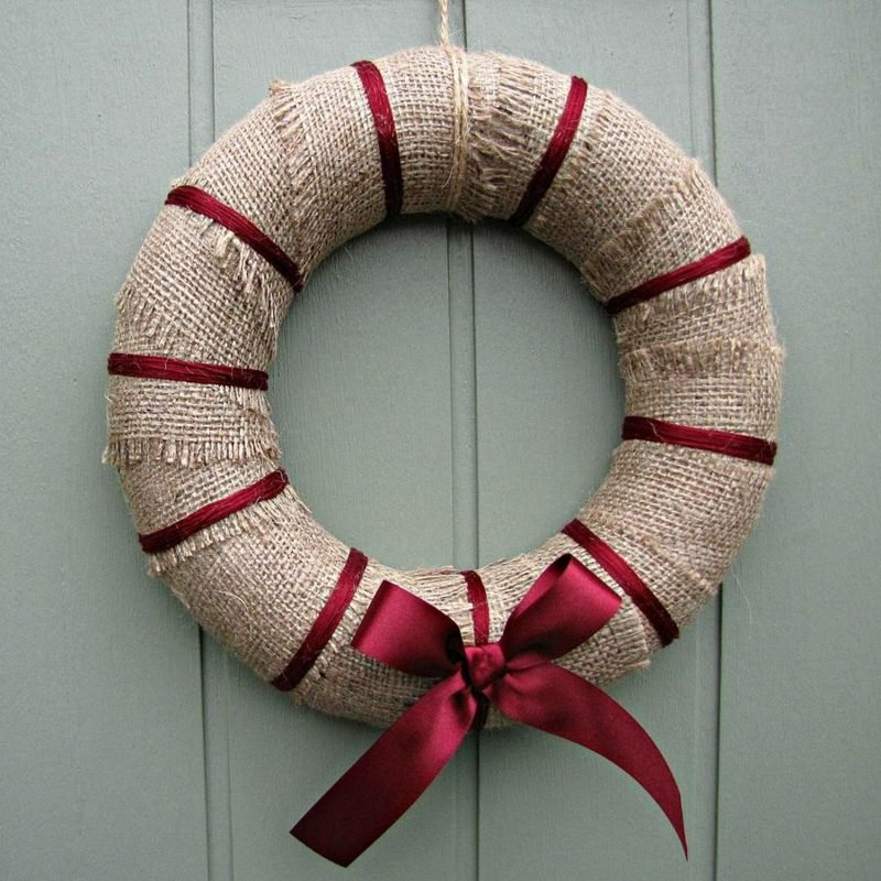Weihnachtskranz Stoff rote Schleife