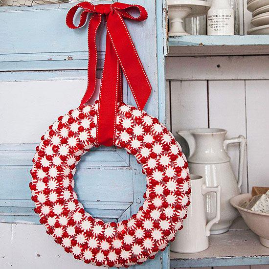 Weihnachtskranz aus Süßigkeiten harte Bonbons