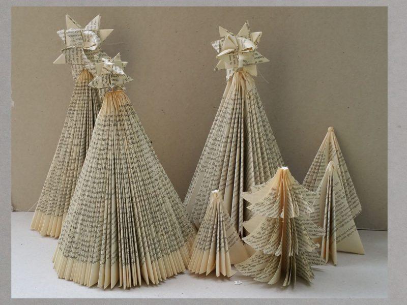 Tannenbaum basteln Bücherseiten toller Look