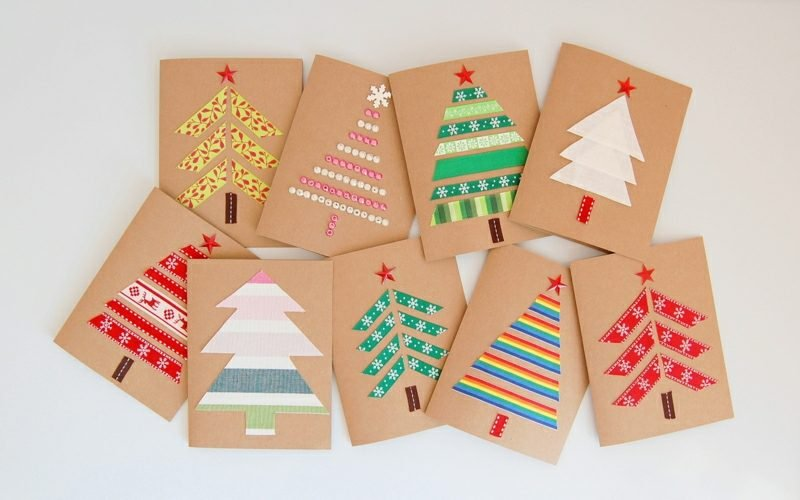 Weihnachtskarten selber basteln Weihnachtsbaum stilvoll Washi Tape