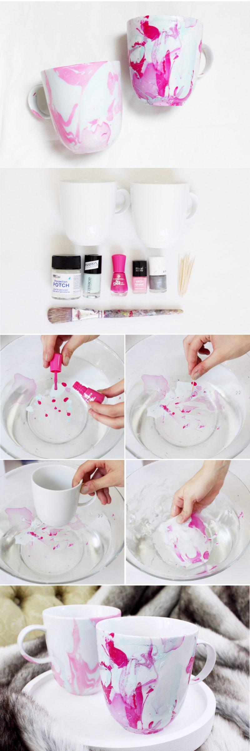 Weihnachtsgeschenke basteln für Erwachsene Tasse verzieren Schrit für Schritt